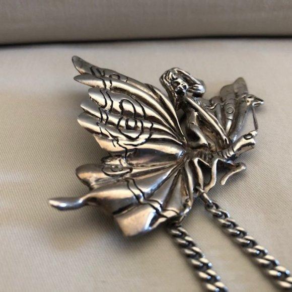 Vintage Artisan Made Sterling Silver Fairy Pin Brooch